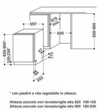 Maattekening WHIRLPOOL vaatwasser inbouw WP108