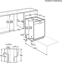 Maattekening ZANUSSI vaatwasser inbouw ZDSN151X2