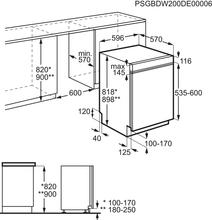 Maattekening ZANUSSI vaatwasser inbouw ZDSN653X2