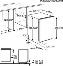 Maattekening ZANUSSI vaatwasser inbouw ZDT21001FA