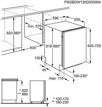 Maattekening ZANUSSI vaatwasser inbouw ZDT25001FA
