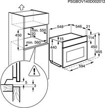 Maattekening ZANUSSI oven met magnetron rvs ZNF44X
