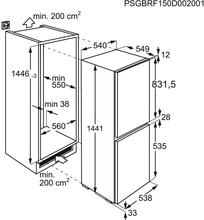 Maattekening ZANUSSI koelkast inbouw ZNLN14FS