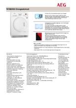 Product informatie AEG droger warmtepomp T67682NIH