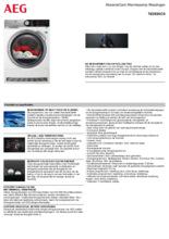 Product informatie AEG droger warmtepomp T8DE84CS