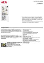 Product informatie AEG koelkast inbouw SCB418F3LS