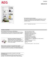 Product informatie AEG koelkast inbouw SFB612F1AF
