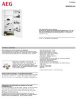 Product informatie AEG koelkast inbouw SFB612F1AS