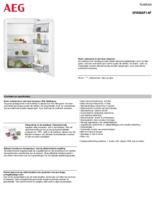 Product informatie AEG koelkast inbouw SFB688F1AF