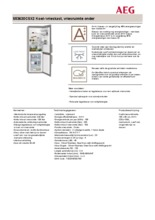 Product informatie AEG koelkast rvs S53630CSX2
