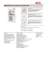 Product informatie AEG koelkast wit S53220CSW2