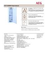 Product informatie AEG vrieskast A72710GNW0