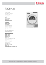 Product informatie ASKO droger warmtepomp T208H.W