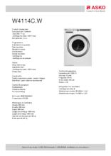 Product informatie ASKO wasmachine W4114C.W/2