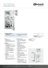 Product informatie BAUKNECHT koelkast inbouw KDI2804/A+