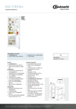 Product informatie BAUKNECHT koelkast inbouw KGI1181/A+