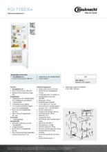 Product informatie BAUKNECHT koelkast inbouw KGI1182/A+