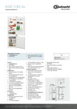 Product informatie BAUKNECHT koelkast inbouw KGIE1182/A+