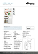 Product informatie BAUKNECHT koelkast inbouw KGIE2184/A++