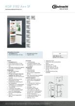 Product informatie BAUKNECHT koelkast inbouw KGIF3182/A++ SF
