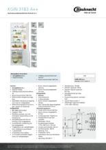 Product informatie BAUKNECHT koelkast inbouw KGIN3183A++