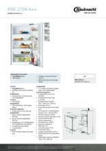 Product informatie BAUKNECHT koelkast inbouw KRIE2104/A++