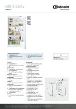 Product informatie BAUKNECHT koelkast inbouw KRIE2123/A+