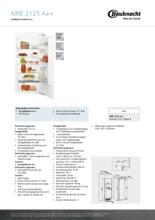 Product informatie BAUKNECHT koelkast inbouw KRIE2125/A++