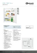 Product informatie BAUKNECHT koelkast inbouw KRIE7887/A++