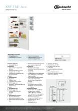 Product informatie BAUKNECHT koelkast inbouw KRIF3141/A++
