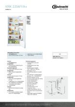 Product informatie BAUKNECHT koelkast inbouw KRIK2204/1/A+