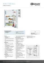 Product informatie BAUKNECHT koelkast inbouw KVIE1104/A++