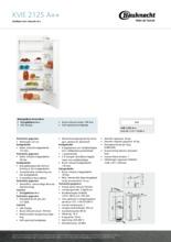 Product informatie BAUKNECHT koelkast inbouw KVIE2125/A++