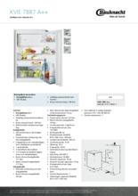 Product informatie BAUKNECHT koelkast inbouw KVIE7887/A++