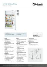 Product informatie BAUKNECHT koelkast inbouw KVIK2004/1/A+