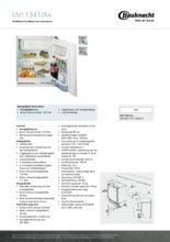Product informatie BAUKNECHT koelkast onderbouw UVI1341/A+