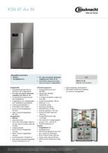 Product informatie BAUKNECHT koelkast rvs KSN4T/A+ IN