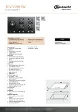 Product informatie BAUKNECHT kookplaat gas-op-glas TGV5590SW
