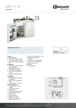 Product informatie BAUKNECHT mini keuken MKV1118