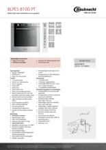 Product informatie BAUKNECHT oven inbouw BLPES8100PT