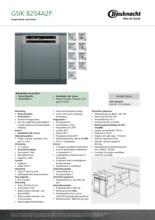 Product informatie BAUKNECHT vaatwasser inbouw GSIK8254A2P