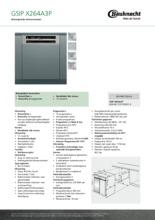Product informatie BAUKNECHT vaatwasser inbouw GSIPX264A3P