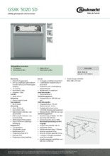 Product informatie BAUKNECHT vaatwasser inbouw GSXK5020SD