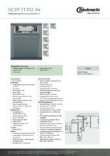 Product informatie BAUKNECHT vaatwasser inbouw smal GCXP71102 A+