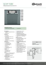 Product informatie BAUKNECHT vaatwasser inbouw smal GCXP7240