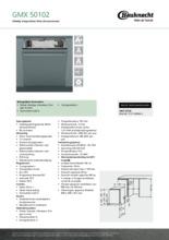 Product informatie BAUKNECHT vaatwasser inbouw verhoogd GMX50102