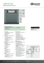 Product informatie BAUKNECHT vaatwasser inbouw verhoogd GMX61102
