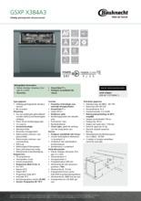 Product informatie BAUKNECHT vaatwasser verhoogd besteklade GSXPX384A3