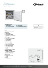 Product informatie BAUKNECHT vrieskast inbouw GKI1600/A+
