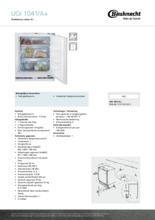Product informatie BAUKNECHT vrieskast onderbouw UGI1041/A+